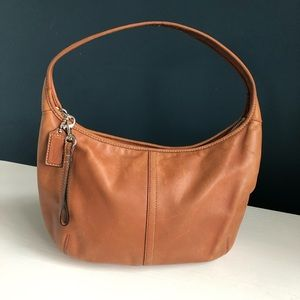 Coach Brown Leather Hobo Bag w/Blue Interior